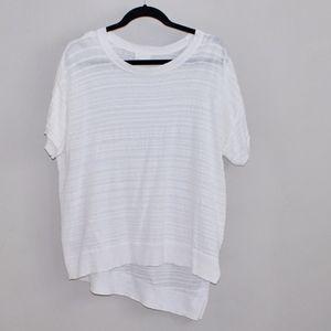 C.A.L.S.O.N White Knit Asymmetrical Blouse